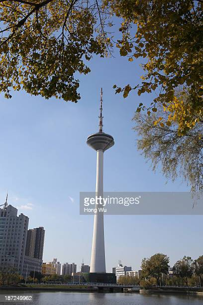 A broadcasting television tower is seen on November 7 2013 in Shenyang China