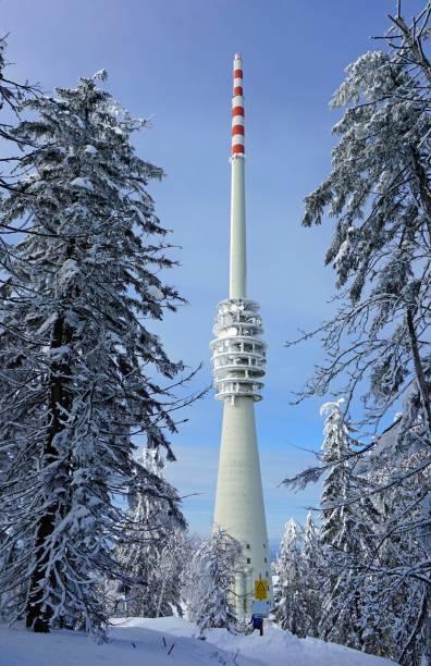 SWR broadcasting tower Hornisgrinde in winter landscape, Hornisgrinde, Black Forest nature park Park Central/North, Ortenaukreis, Northern Black Forest, Baden-Wuerttemberg, Germany