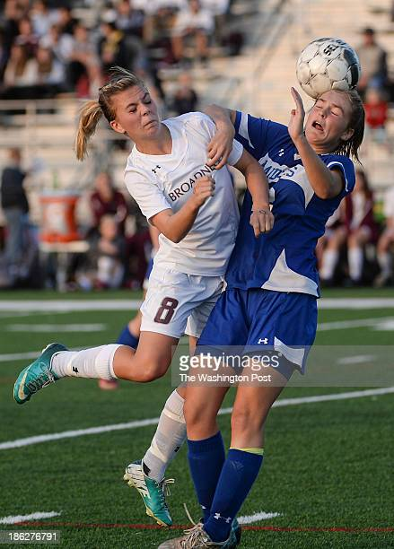 Broadneck defender Anya Fisher left pushes Leonardtown's Emily Meador away form the ball during the Maryland High School 4A East girls' soccer...