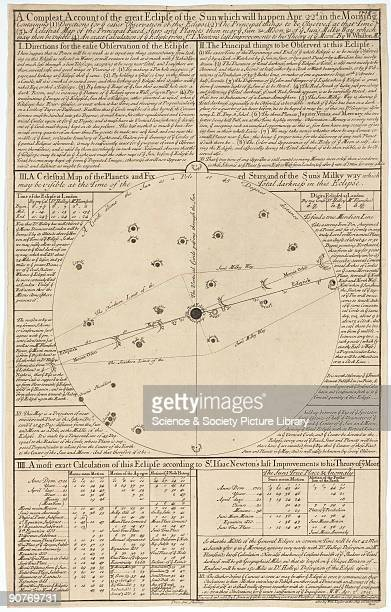 Broadsheet engraving by John Senex Observations about a forthcoming eclipse by William Whiston MA including �A Celestial map of the Planets and Fixed...