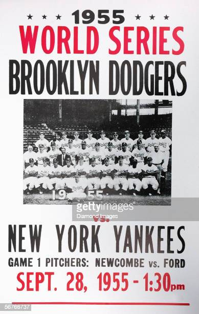 A broadside advertisement for the opening game of the World Series on September 28 1955 between the New York Yankees and the Brooklyn Dodgers at...