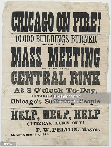 Broadside advertising rally to assist victims of the Great Chicago Fire, Cleveland, Ohio, October 9, 1871.
