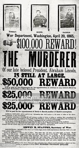 Broadside advertising reward for the capture of Abraham Lincoln assassination conspirators April 20 1865 United States of America 19th century