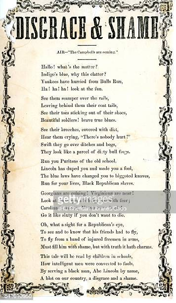 Broadside from the American Civil War entitled Disgrace and Shame celebrating the Confederate victory in the first Battle of Bull Run calling Abraham...