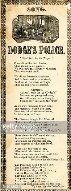 Broadside from the American Civil War entitled 'Dodge's Police ' advocating for the Confederacy through the story of riots in Baltimore involving a...