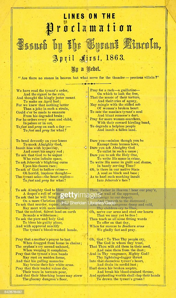 Broadside from the American Civil War, entitled 'Lines on