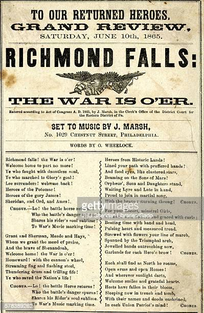 Broadside from the American Civil War entitled Richmond Falls The War is Over celebrating the end of the war and the Union Army soldiers' return home...