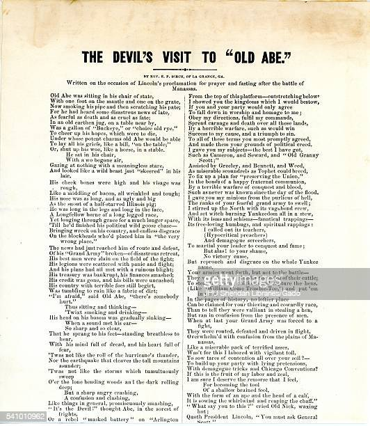 Broadside from the American Civil War entitled The Devil's Visit to 'Old Abe ' expressing disdain for Abraham Lincoln and his proclamation for prayer...