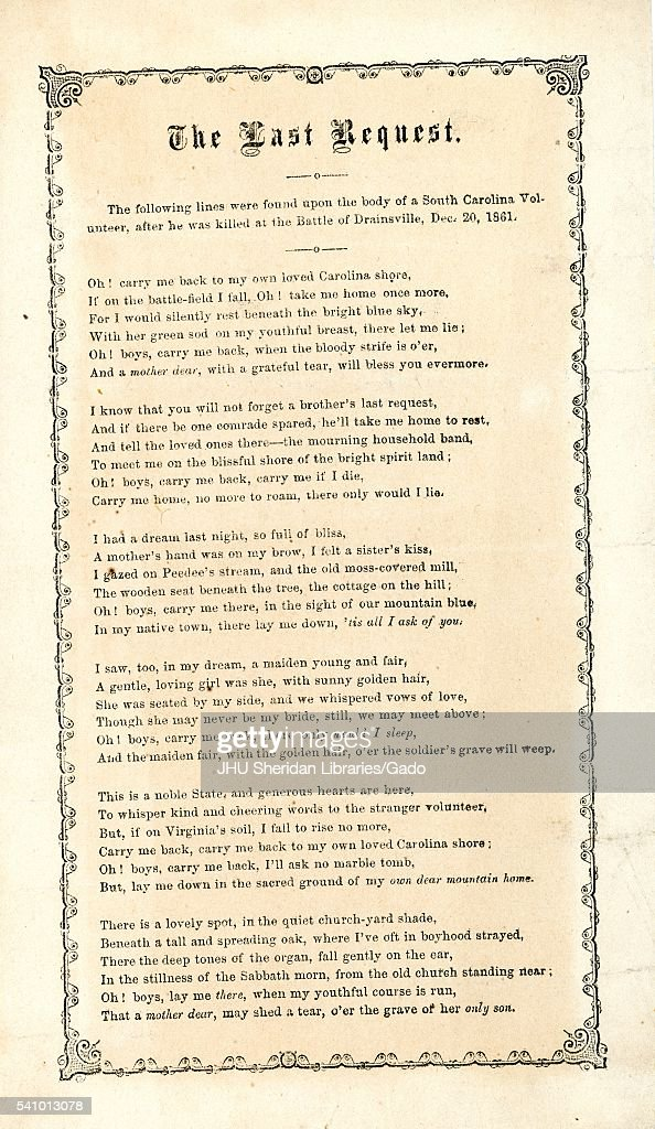 Broadside from the American Civil War, entitled 'The Last Request