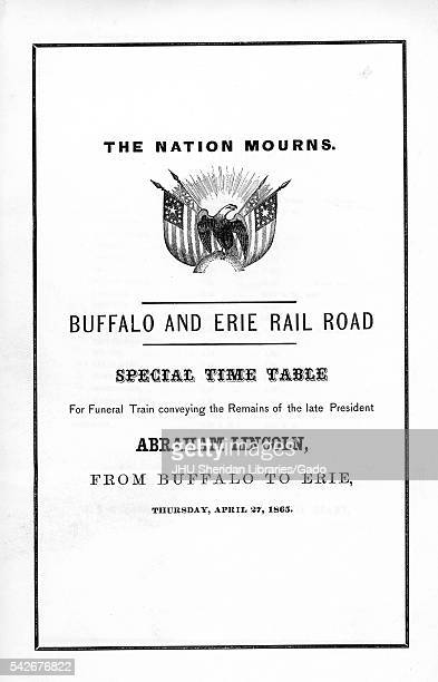 Broadside from the American Civil War entitled 'The Nation Mourns' is a death notice for the Buffalo and Erie Rail Road for the funeral train of...