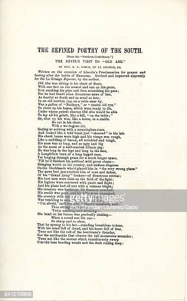 Broadside from the American Civil War entitled The Refined Poetry of the South The Devil's Visit to 'Old Abe ' expressing disdain for Abraham Lincoln...