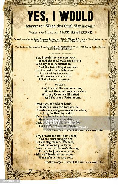 """Broadside from the American Civil War, entitled """"Yes, I Would, Answer to 'When This Cruel War Is Over, '"""" with words and music by Alice Hawthorne, as..."""