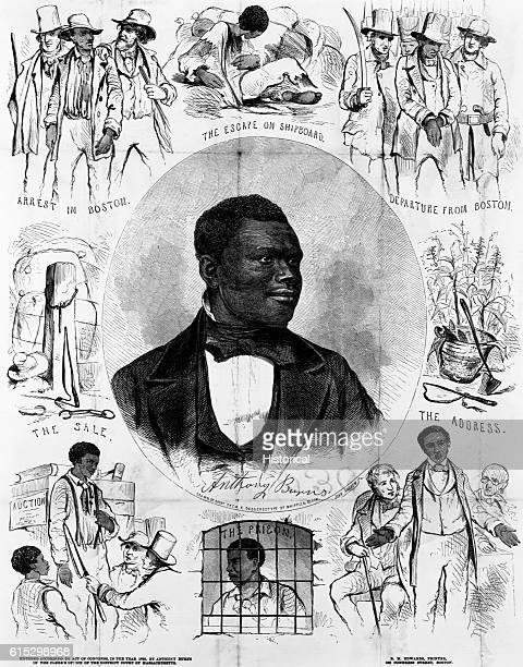 A broadside portrait of Anthony Burns with scenes from his life After his arrest and trial in Boston in 1854 a court ordered Anthony Burns returned...