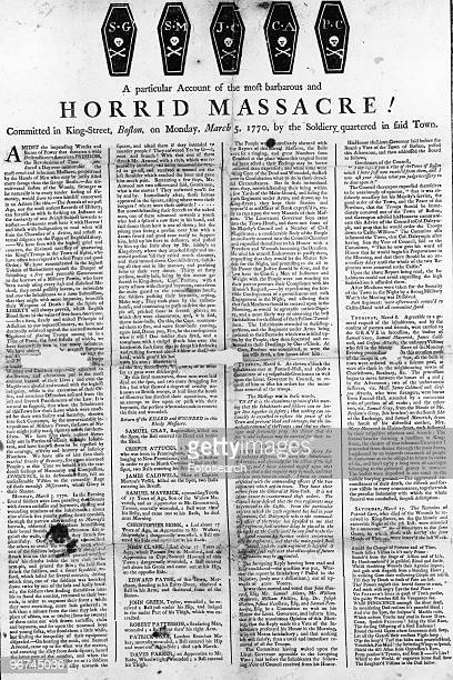 Broadside with the title 'A particular account of the most barbarous and horrid massacre Committed in KingStreet Boston on Monday March 5 by the...