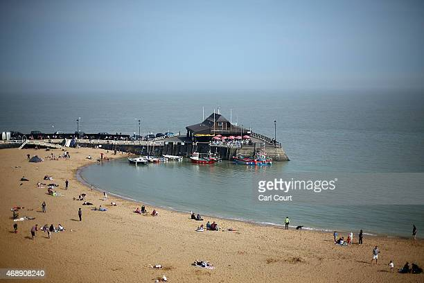 Broadstairs beach is pictured on April 8 2015 in Broadstairs England Pleasant weather continued on the south coast with temperatures reaching around...