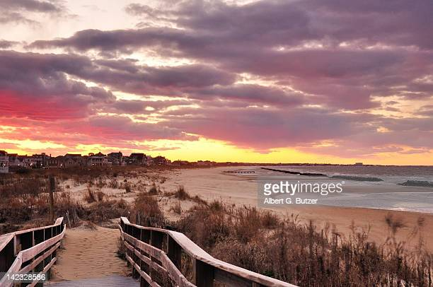 broadwalk at sunset - norfolk virginia stock pictures, royalty-free photos & images