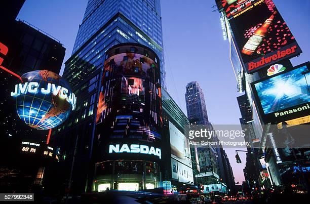 nasdaq - broadway & 44th street, nyc - nasdaq stock pictures, royalty-free photos & images