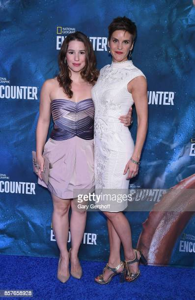 Broadway actors Chilina Kennedy and Jenn Colella attend the National Geographic Encounter Blue Carpet VIP preview celebration on October 4 2017 in...