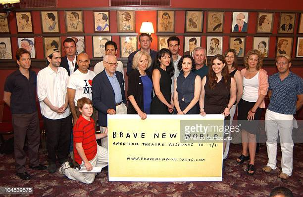 Broadway Actors group photo during Brave New World American Theatre Responds to 9/11 Open Rehearsal Presentation at Sardi's in New York City New York...