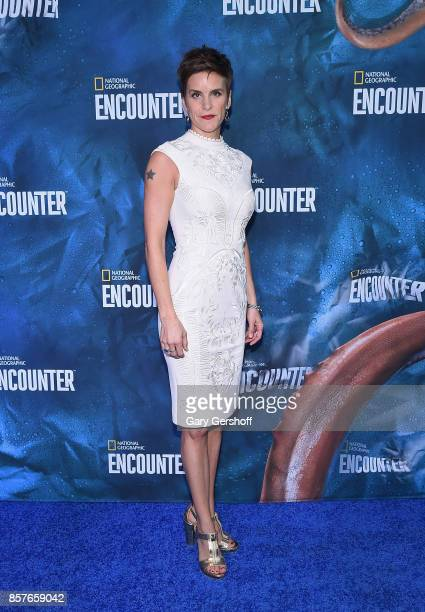 Broadway actress Jenn Colella attends the National Geographic Encounter Blue Carpet VIP preview celebration on October 4 2017 in New York City