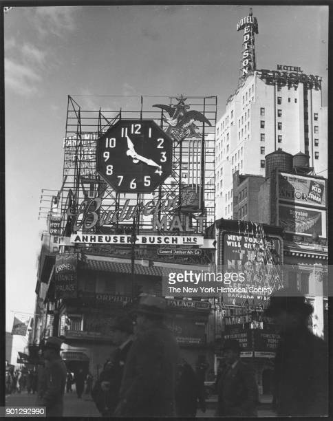 Broadway and 46th Street Budweiser sign with clock New York New York 1929