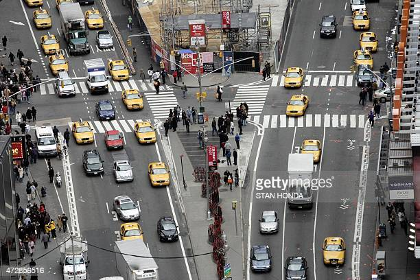 Broadway and Seventh Avenue meet in Times Square as seen from One Times Square 27 December 2006 in New York Preparations are under way for the...