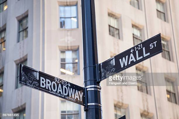 Broadway and Wall St., street sign, New York, USA