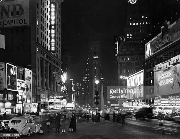 Broadway at Times Square at night in New York City, 1939.