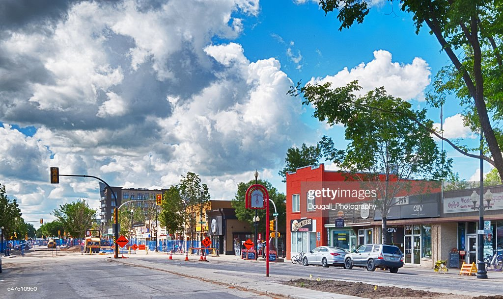 Broadway Avenue in Saskatoon With Summer Road Construction : Stock Photo