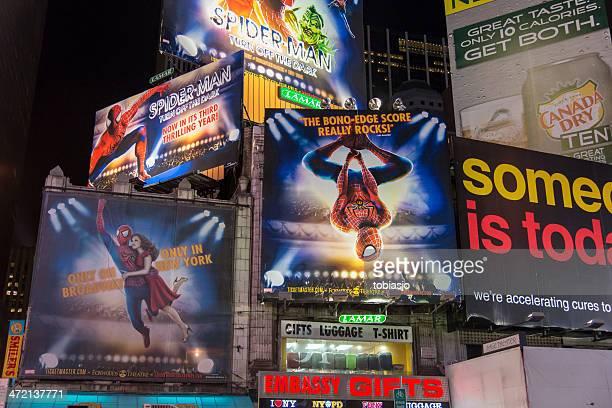 broadway cartelloni - uomo ragno foto e immagini stock