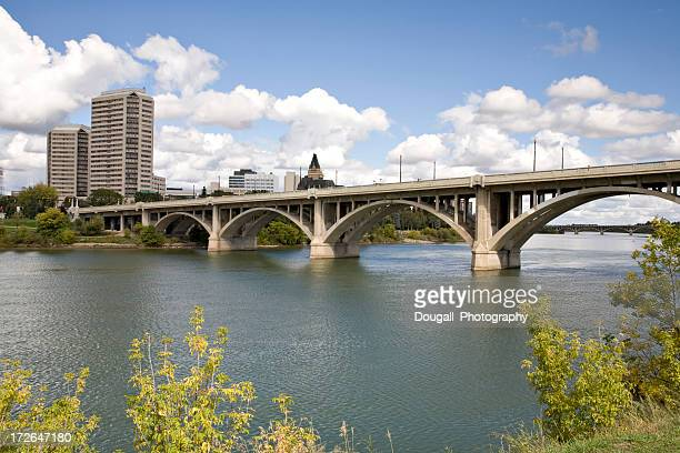 Broadway Bridge in Downtown Saskatoon With Hotels andd Condominiums