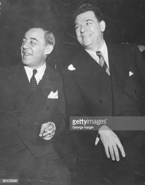 Broadway composer Richard Rodgers standing w his partner lyricist Oscar Hammerstein II