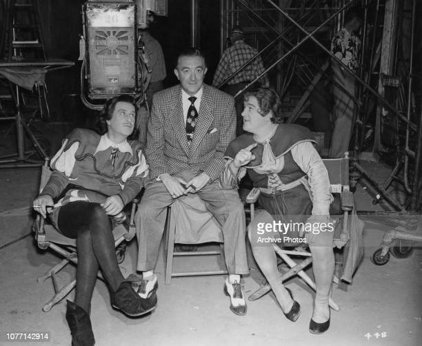 Broadway dancer George Di Verdi visits actors Bud Abbott and Lou Costello on the set of the Exclusive Productions/Warner Bros comedy film 'Jack And...