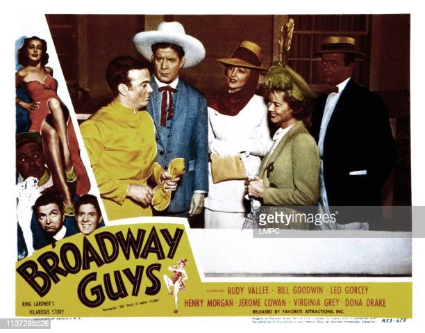 Broadway Guys lobbycard from left Leo Gorcey Rudy Vallee Virginia Grey Dona Drake Henry Morgan 1948