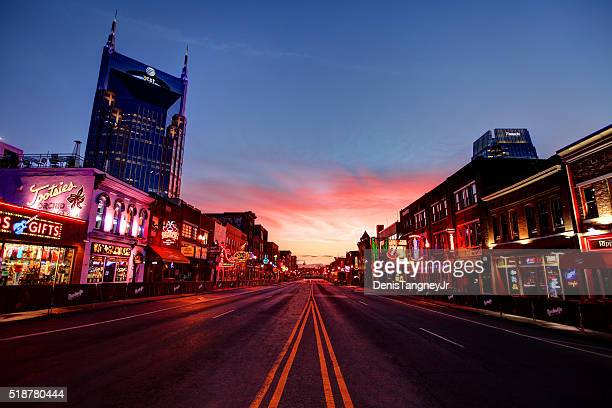 broadway in downtown nashville, tennessee - tennessee stock pictures, royalty-free photos & images