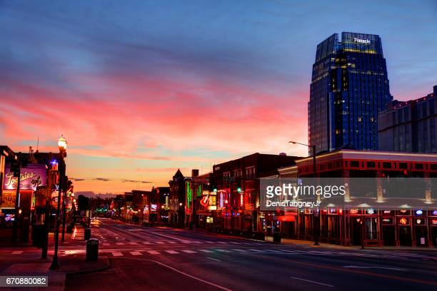 broadway in downtown nashville, tennessee - nashville stock pictures, royalty-free photos & images