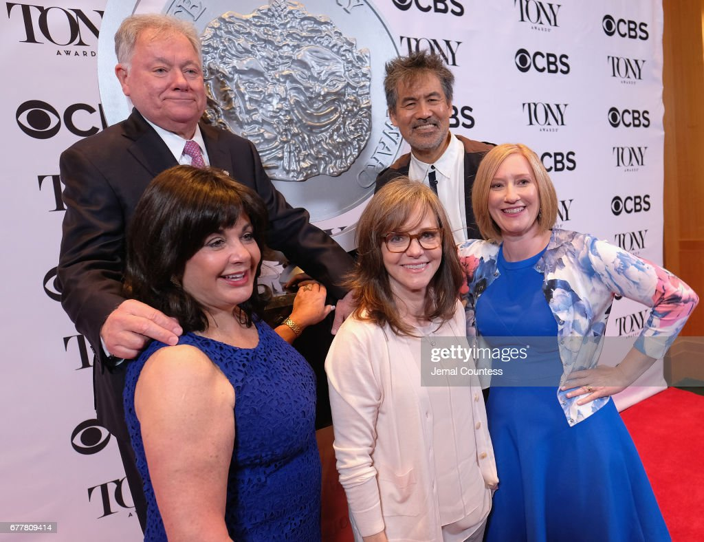 Broadway League Chairman Robert Wankel, Broadway League President Charlotte St. Martin, Sally Field, American Theatre Wing Chair David Henry Hwang and American Theatre Wing President Heather Hitchens attends the 2017 Tony Awards Meet The Nominees Press Junket at the Sofitel New York on May 3, 2017 in New York City.