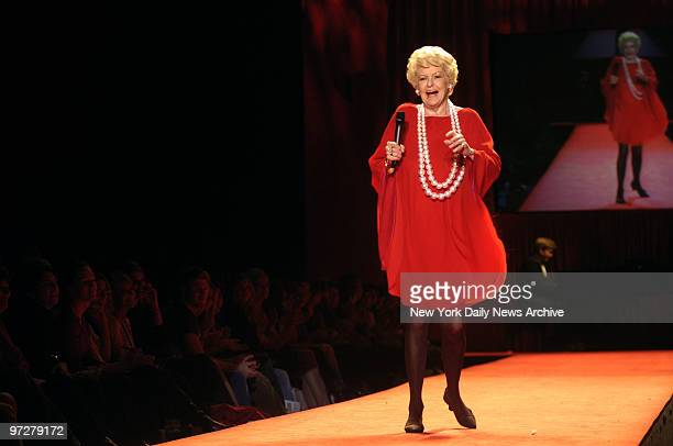 Broadway legend Elaine Stritch walks the runway during the 2006 Heart Truth Red Dress Collection show at the Tent in Bryant Park on the opening day...