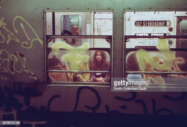 Broadway Local subway car with graffiti, New York City, New York, May, 1973. Image courtesy National Archives. .