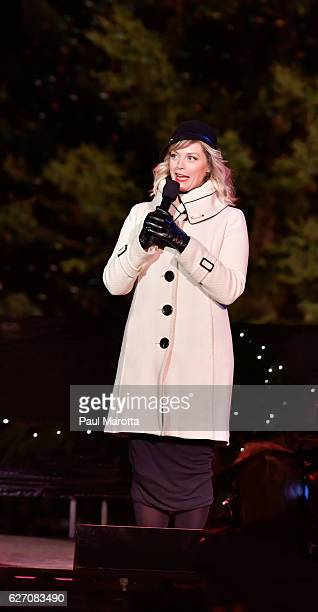 Broadway performer Elizabaeth Stanley performs at the Annual Boston Christmas Tree Lighting at Boston Common Park on December 1 2016 in Boston...