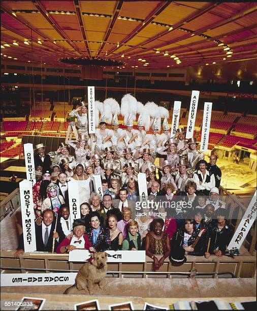 Broadway show stars in an unusual group portrait in Madison Square Garden just before the opening of the Democratic National Convention in August 1980