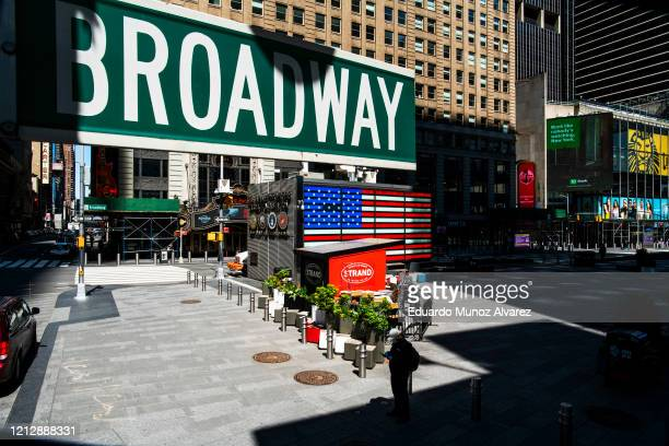 Broadway sign is seen near the Theater District in Manhattan as theaters remain shuttered due to COVID-19 pandemic on May 13, 2020 in New York City....