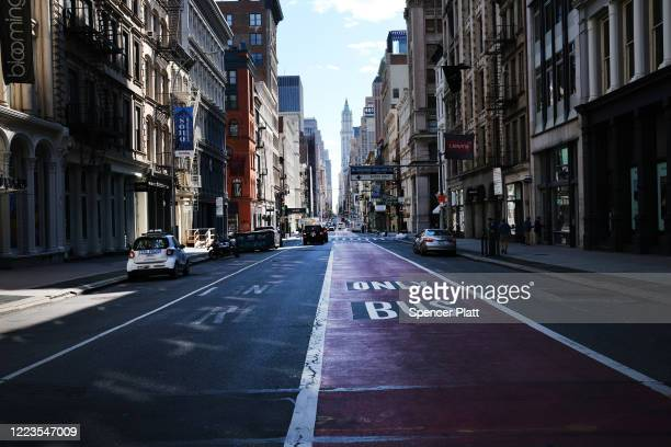 Broadway stands empty as the coronavirus keeps financial markets and businesses mostly closed on May 07 2020 in New York City Hospitals in New York...
