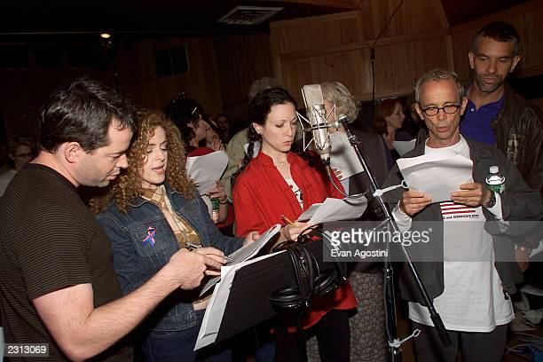 Broadway stars record New York New York public service announcement to rally support for Broadway and tourism at Right Track Recording Studios in New...