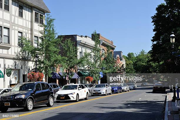 broadway street in tarrytown - westchester county stock photos and pictures