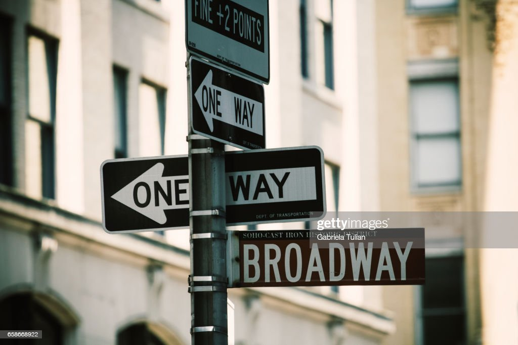 Broadway Street Signs, Manhattan, New York City : Stock Photo
