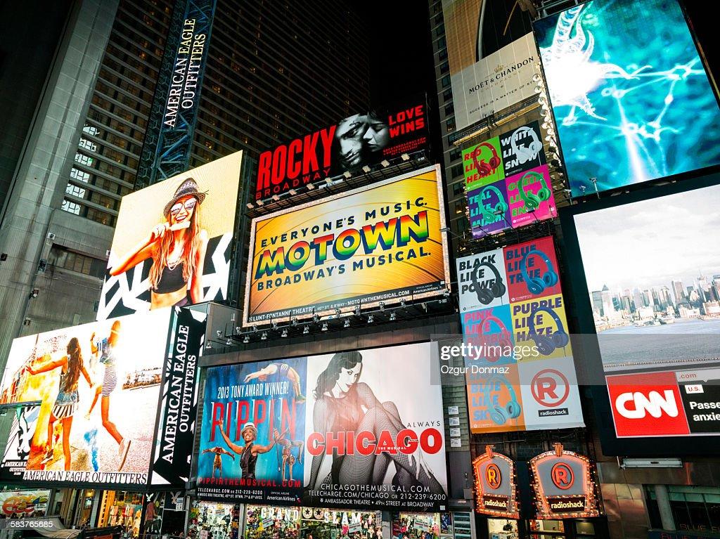 Broadway theater billboards, New York : Stock Photo
