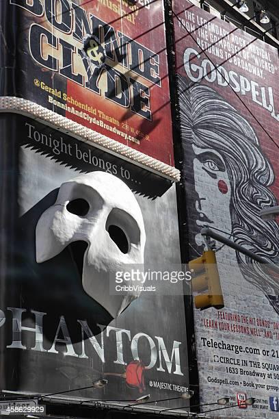 ブロードウェイ劇場の看板タイムズスクエアニューヨークの - オペラ座の怪人 ストックフォトと画像