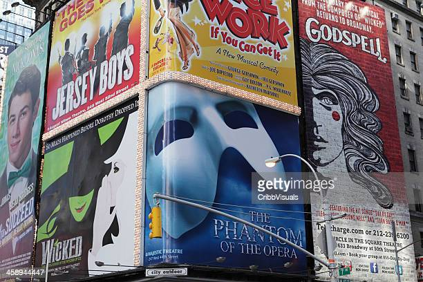 broadway theater billboards times square nyc - musical theater stock pictures, royalty-free photos & images