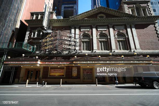 Broadway theaters are closed due to coronavirus pandemic on March 16, 2020 in New York, United States.